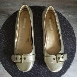 Ecco Owando gold metallic ballet flats size 37